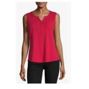 Liz Claiborne sleeveless Henley Neck Red Top XL